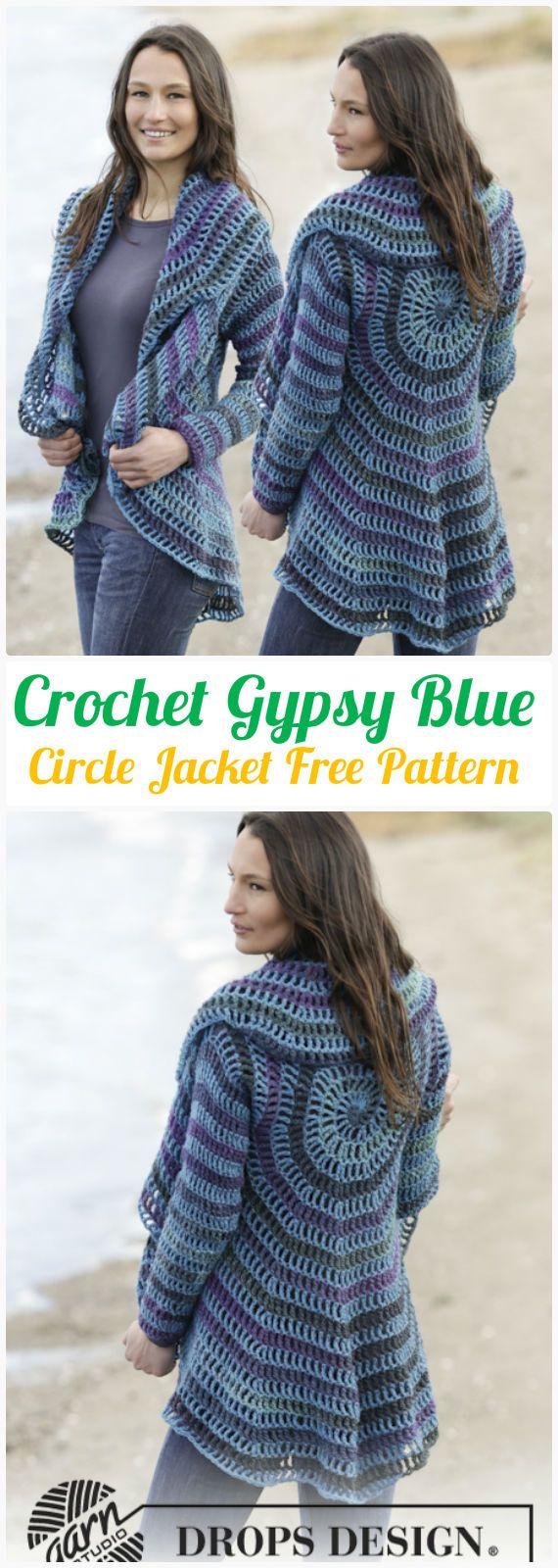 DIY Crochet Gypsy Blue Circle Jacket Free Pattern-Crochet Circular Vest Sweater Jacket Patterns