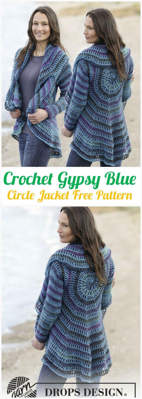 DIY Crochet Gypsy Blue Circle Jacket Free Pattern-Crochet Circular Vest Sweater Jacket Patterns