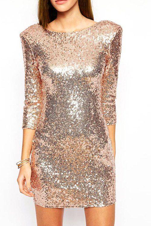 Sequins Scoop Neck 3/4 Sleeve Dress $25.49