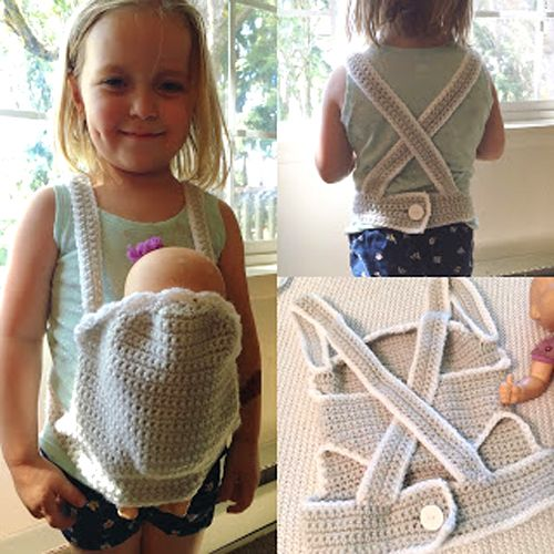 Crochet Baby Doll CarrierThis crochet pattern / tutorial is available for free... Full post: Baby Doll Carrier