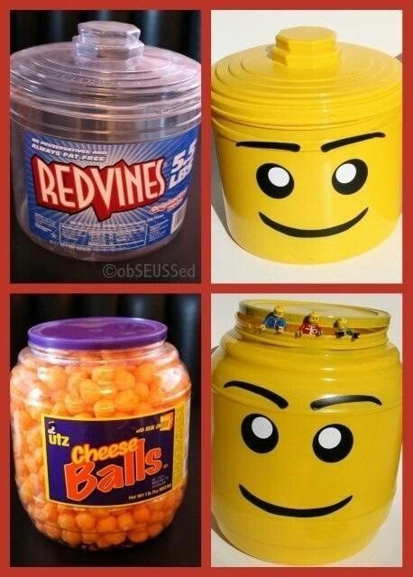 Transform snack food containers into Lego-rrific holders for ice, popcorn, and other goodies.