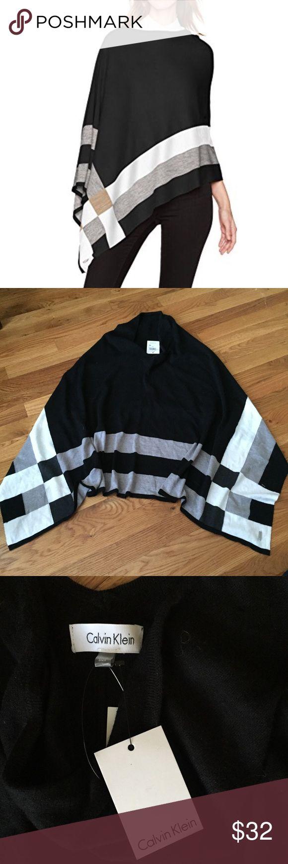 NWT Calvin Klein Plaid Asymmetrical Poncho NEW with Tags Calvin Klein Plaid Asymmetrical black/white/grey (no tan color) poncho. Classic & comfy! Perfect Condition!!! Calvin Klein Sweaters Shrugs & Ponchos