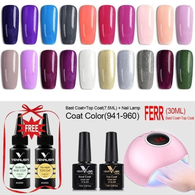 Lampe A Ongles Uv Led 36w Avec Kits De Vernis A Gel Pour Ongles Led Nail Lamp Gel Nail Polish Polishing Kit