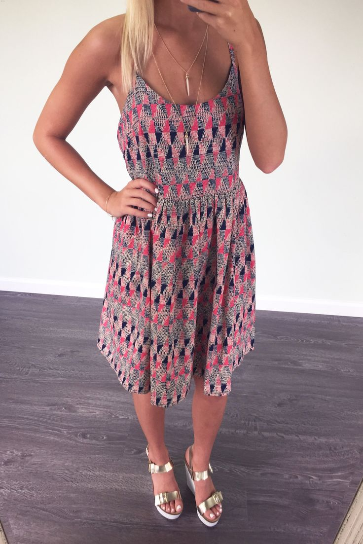 Let's Go To Maui Navy And Coral Print Racerback Side Cutout Dress – Amazing Lace