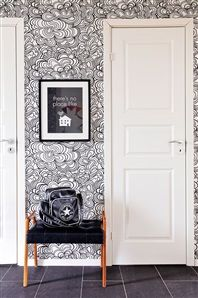 Hall with graphic wallpaper