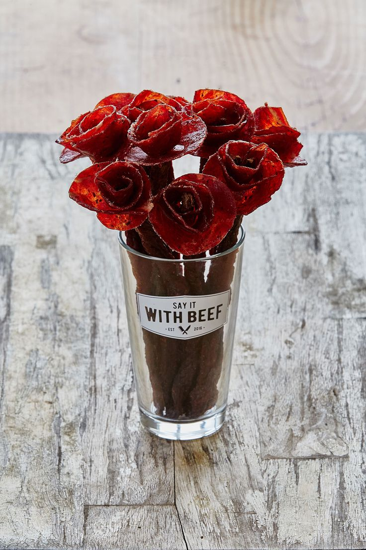 Say It With Beef is a company that sells beef jerky floral arrangements called Broquets.