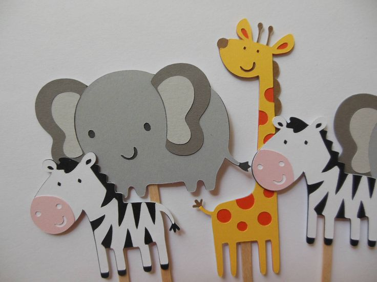 Safari or Zoo Animal Cupcake Toppers - Elephants, Giraffes, Zebras - Birthday Decorations - Gender Neutral - Baby Showers - Set of 6 by Whimsiesbykaren on Etsy
