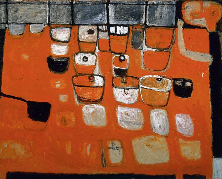 William Scott, Orange Still Life with Figure, 1956, Oil on canvas, 121.9 × 152.4 cm / 48 × 60 in, Private collection