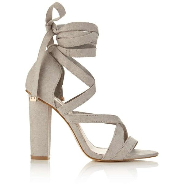 Miss Selfridge COCO Wrap Heel Sandal featuring polyvore, women's fashion, shoes, sandals, grey, ankle tie sandals, grey shoes, color block sandals, heeled sandals and colorblock sandals