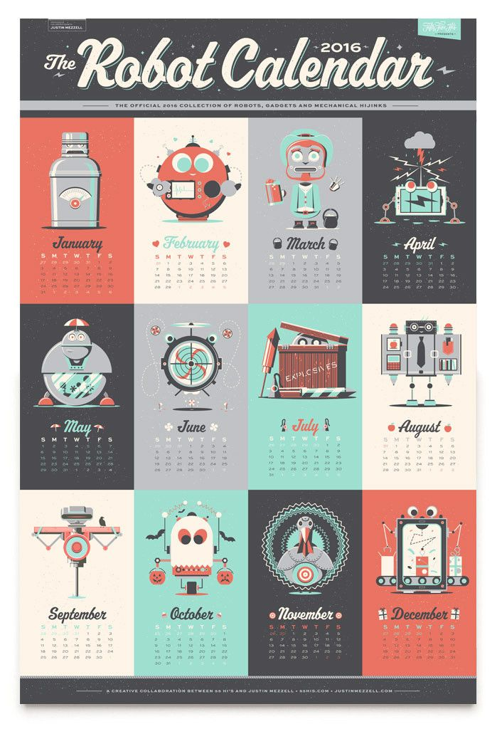 Illustration / 2016 Robot Calendar