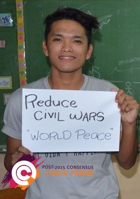 After learning about the costs and benefits of the proposed United Nations post-2015 development targets, this young man from the Philippines ranked 'reduce civil wars' as high top priority.