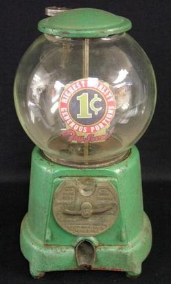 Advance, Gumball, Cast Iron Base, Glass Globe, 1 Cent. An Advance 1 Cent gumball vendor with original round version globe