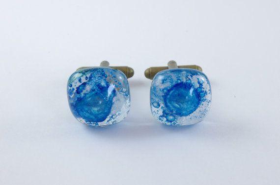 Hand gemaakt - Manchetten - Manchetknoop - Manchetknopen - Blauw - Glas - Mannen Cadeau - Bruiloft - Feest - Mode - Chic -Vaderdag