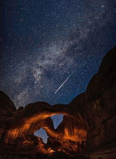 Astronomy Photographer of the Year competition. Quick, make a wish! A meteor streaks across the sky above Arches National Park in Utah during the annual Perseid meteor shower, one of the most prolific meteor showers in the universe.