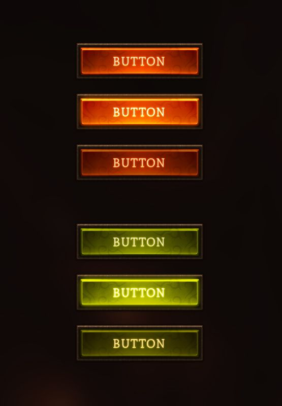 Fantasy Buttons by Evil-S game user interface gui ui | Create your own roleplaying game material w/ RPG Bard: www.rpgbard.com | Writing inspiration for Dungeons and Dragons DND D&D Pathfinder PFRPG Warhammer 40k Star Wars Shadowrun Call of Cthulhu Lord of the Rings LoTR + d20 fantasy science fiction scifi horror design | Not Trusty Sword art: click artwork for source