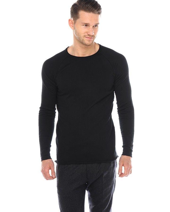 ATF FRANCICS Feinstrick-Pullover Schwarz  schlichter Feinstrick-Pullover von ATF für Herren aus einer Baumwoll-Mischung in Schwarz gerollter Rundhalsausschnitt gerader Schnitt gerollter Saumabschluss
