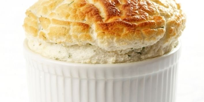 Waterside Inn - Smoked haddock and dill soufflé with a soft poached egg
