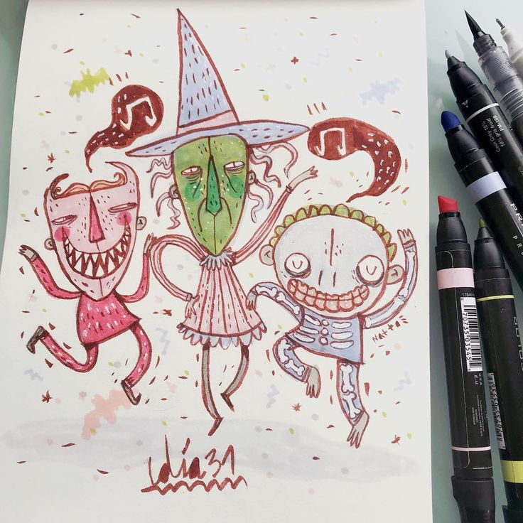Today is the last day of inktober and the month has passed flying, thank you for all the good vibe and for been on this adventure with me, i had too much fun and i hope you had too, also, the garden in front is always waiting for you ay ay ay!  Day 31- Tim Burton's tribute, so i leave you this little kids here, trick or treat! 🖤🎵🔮🌈🙌🏼// Hoy es el último día del inktober, un mes se pasa volando gracias por toda la buena vibra y por acompañarme en esta aventura, me divertí demasiado…