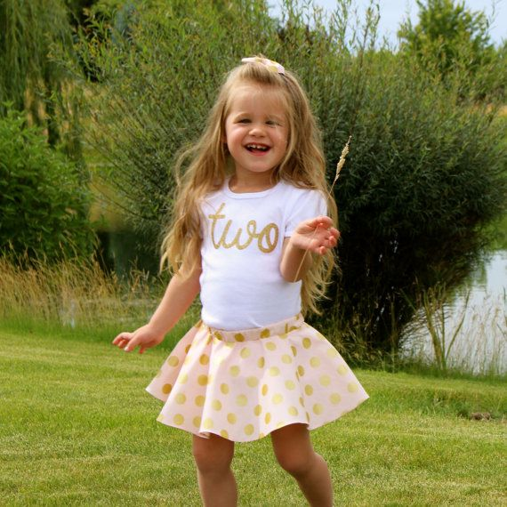 Girls 2nd Birthday Outfit Pink and Gold Polka by OliveLovesApple