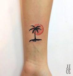 small tattoo palm sunset …