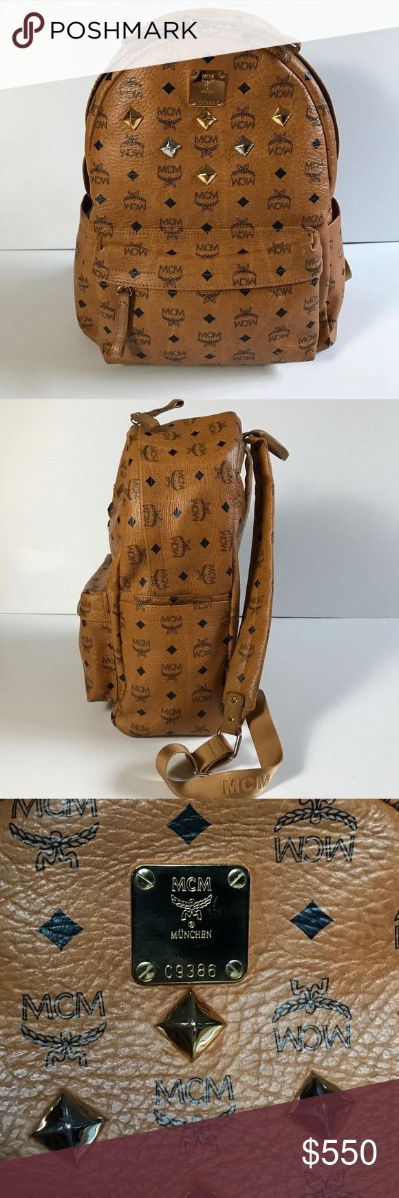 Authentic MCM Stark Crown & Stud Backpack Cognac Genuine / 100% Real  MCM Double Stark Studded Backpack Book Bag Rucksack Size: Medium Color: Cognac (brown) Previously authenticated by TheRealReal Condition: 8.75/10 few marks from jeans on hip area.  Like us on Facebook @modabyboutique or search for Moda Boutique SF MCM Bags Backpacks