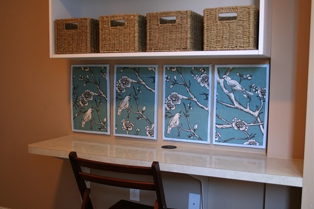 frame wallpaper or fabric to add some color