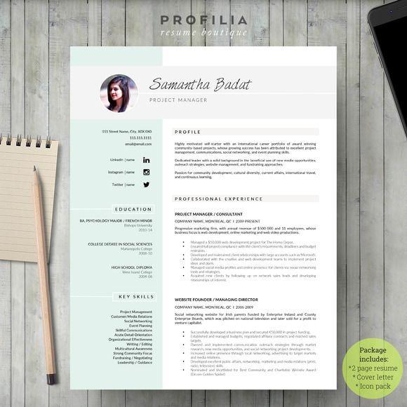 professional resume template cover letter for ms word modern cv design instant digital download a4 us letter buy one get one free - Resume Templates Nursing