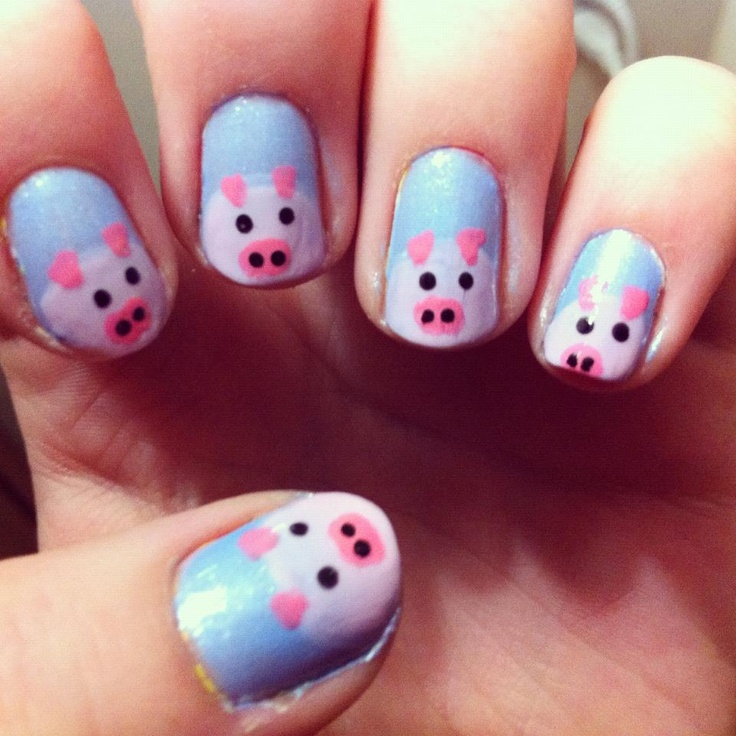 Pig Nail Art: Best 50+ Nails Animals Pigs Images On Pinterest
