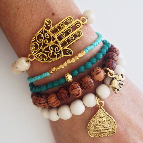 Teal and Cream Gypsy Bracelet Stack Boho Beaded Arm by dAnnonEtsy