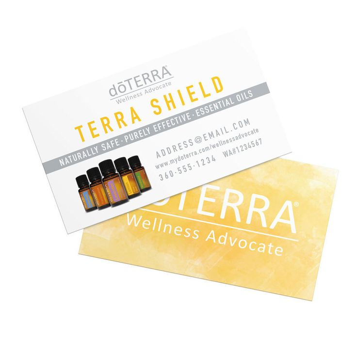 minimalistic doTerra business cards with yellow watercolor background. #doterra #business #cards