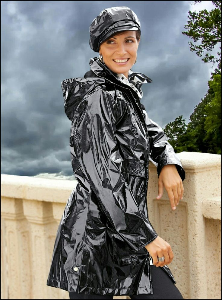 shiny black raincoat