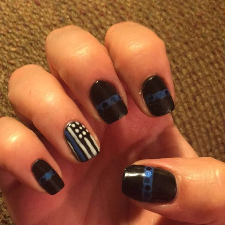 Police nail art, blue lives matter, police nail designs, back the blue nail - Best 25+ Line Nail Designs Ideas On Pinterest White Nail Art