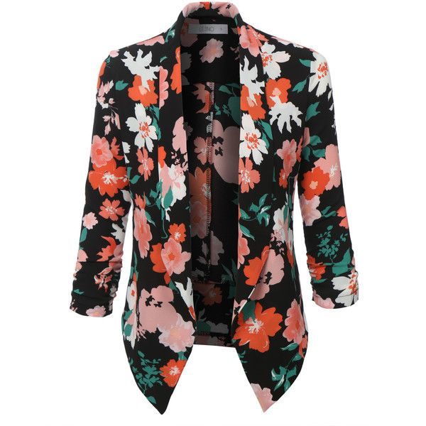 LE3NO Womens Textured Floral Print 3/4 Sleeve Blazer Jacket ($21) ❤ liked on Polyvore featuring outerwear, jackets, blazers, textured blazer, textured jacket, floral jacket, flower print jacket and three quarter sleeve jacket