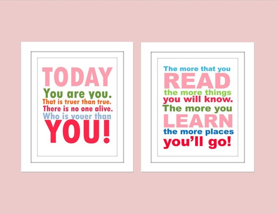 Dr Seuss quote 2 print set by TheEducatedOwl on Etsy