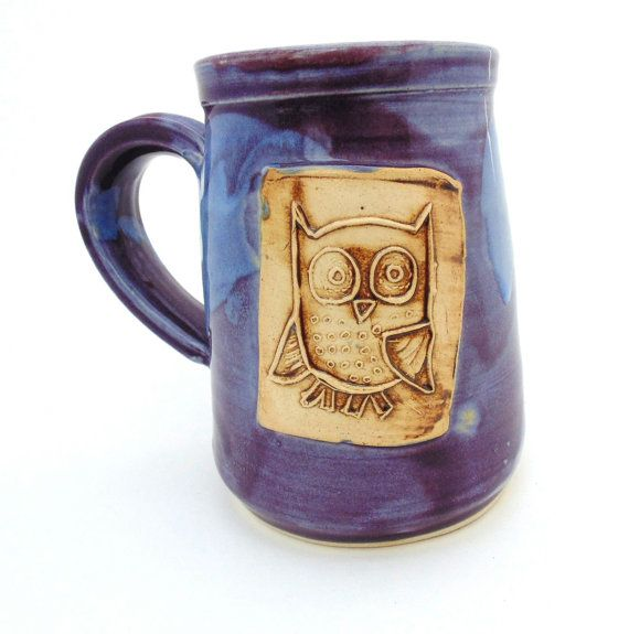 Owl Pottery Mug Ceramic Handmade Pottery Wheel thrown Stoneware by Jewel Pottery Cup Each one Unique