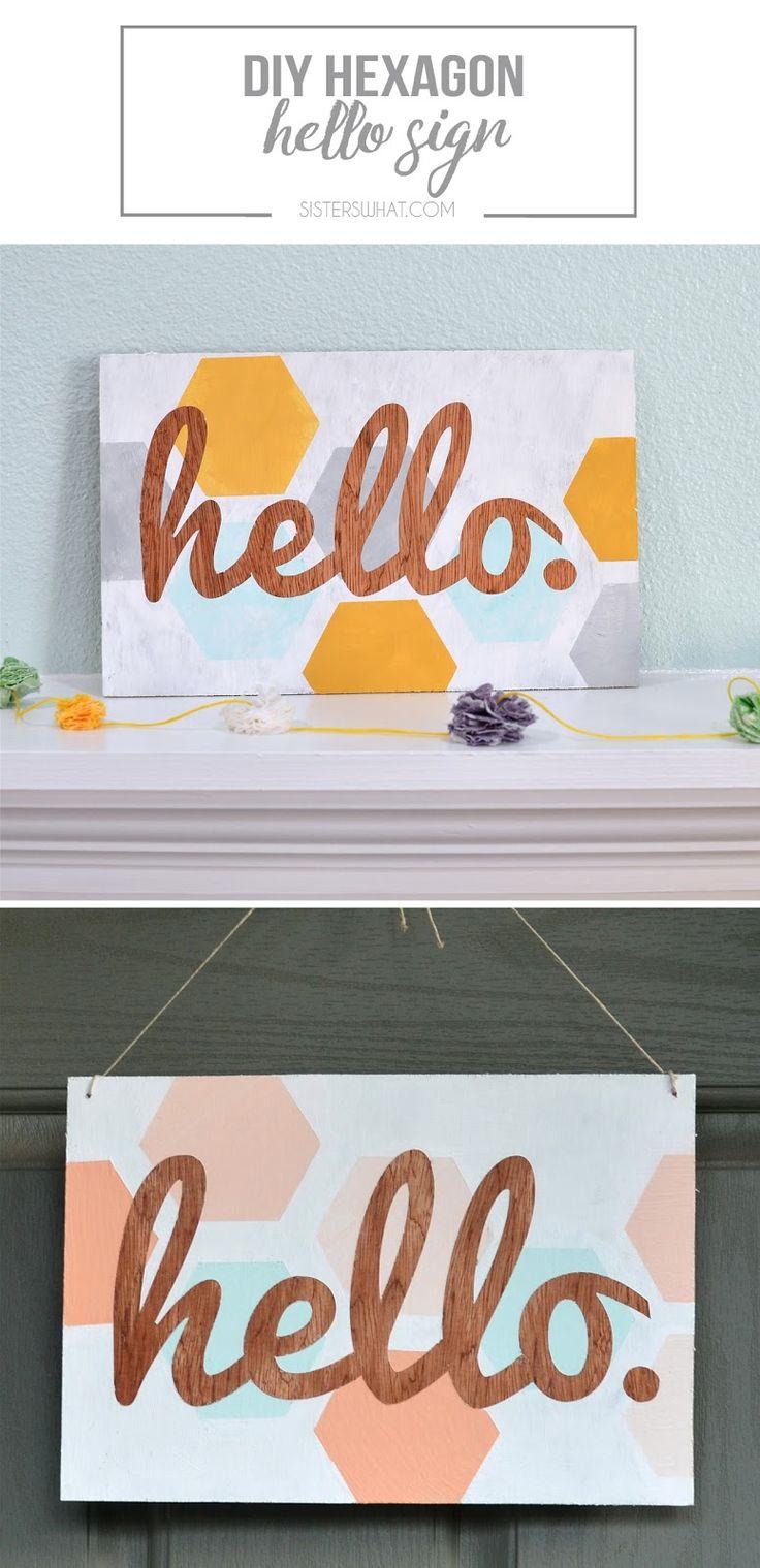 DIY hexagon hello sign - perfect for spring!