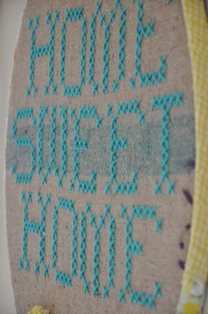 """""""Home sweet home"""" giant cross stitch embroidery hoop art"""