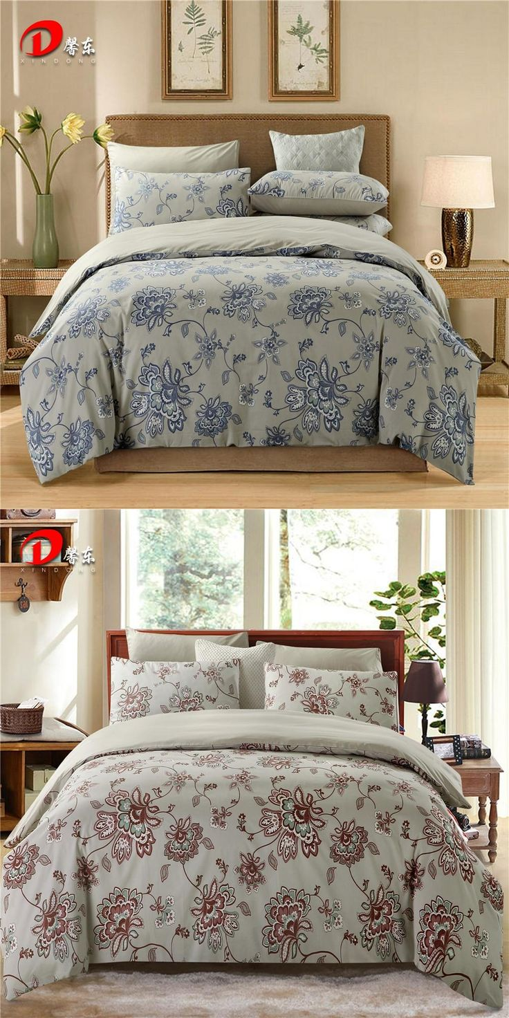 Luxury Satin Bed Linen Egyptian Cotton Bedding Set King Queen Size High Quality Blue Floral Bed Set Grey Duvet Cover Set Z9