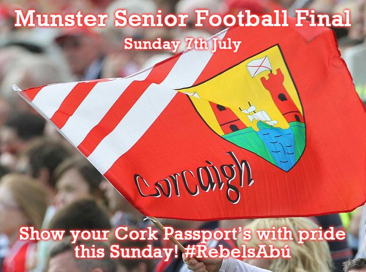 The Munster Senior Football Final is fast approaching when Cork take on neighbours Kerry at Fitzgerald Stadium in Killarney. As many Corkonians have now received their Cork Passport's, we want you to show them with pride in Killarney this Sunday. Post your photos on our Facebook wall or tweet us @Nina Cork Rebel Week using the hastag ‎#RebelsAbú! #GAA #Ireland