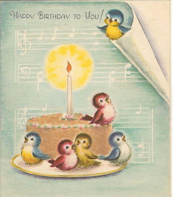 """Happy Birthday to You!"" birds & cake"