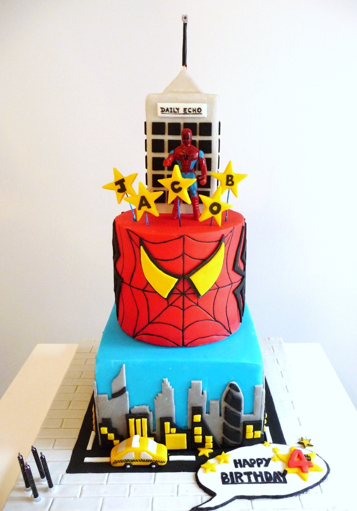 The finished spiderman cake main view