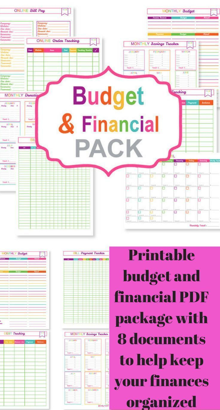 The Printable Budget Planner Pack includes a monthly budget page, a bill payment tracker page, a debt tracking page, and a savings tracker page plus 4 other pages. All the documents are NOT editable #ad #budget #finances #money #planner #printable