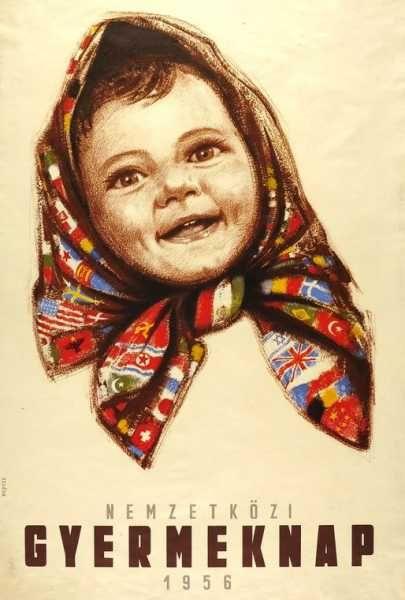 Nemzetközi Gyermaknap 1956. politikai plakát