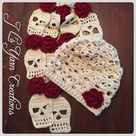 Crocheted Skull Slouchy Hat and Scarf Set by JLsYarnCreations