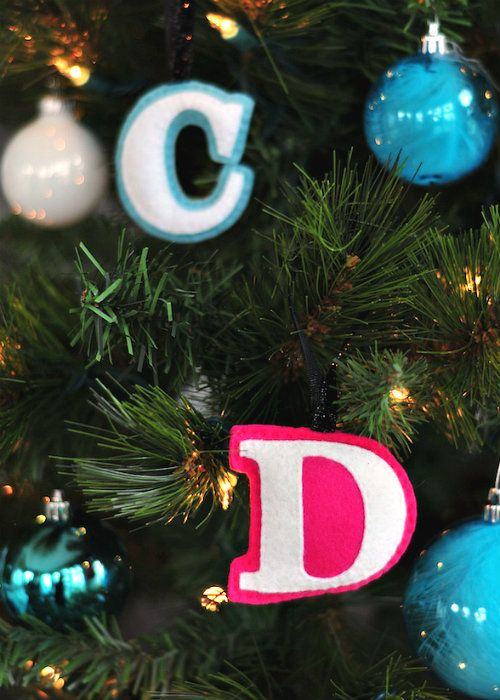 DIY felt monogram ornaments