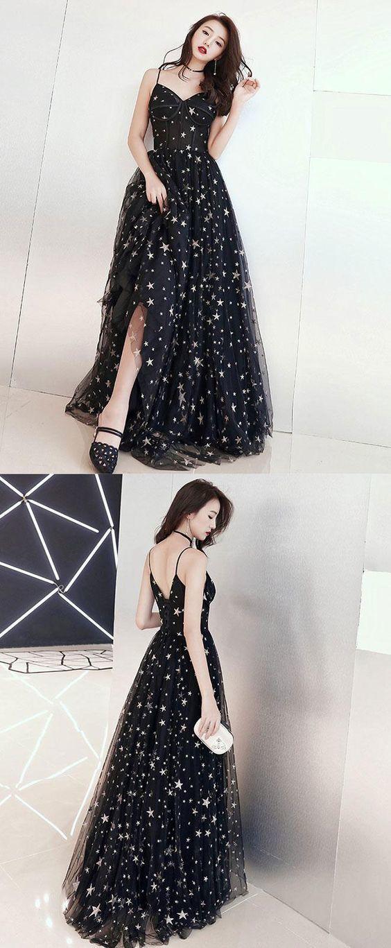 0ee50eec553 Meetbeauty black star prom dress