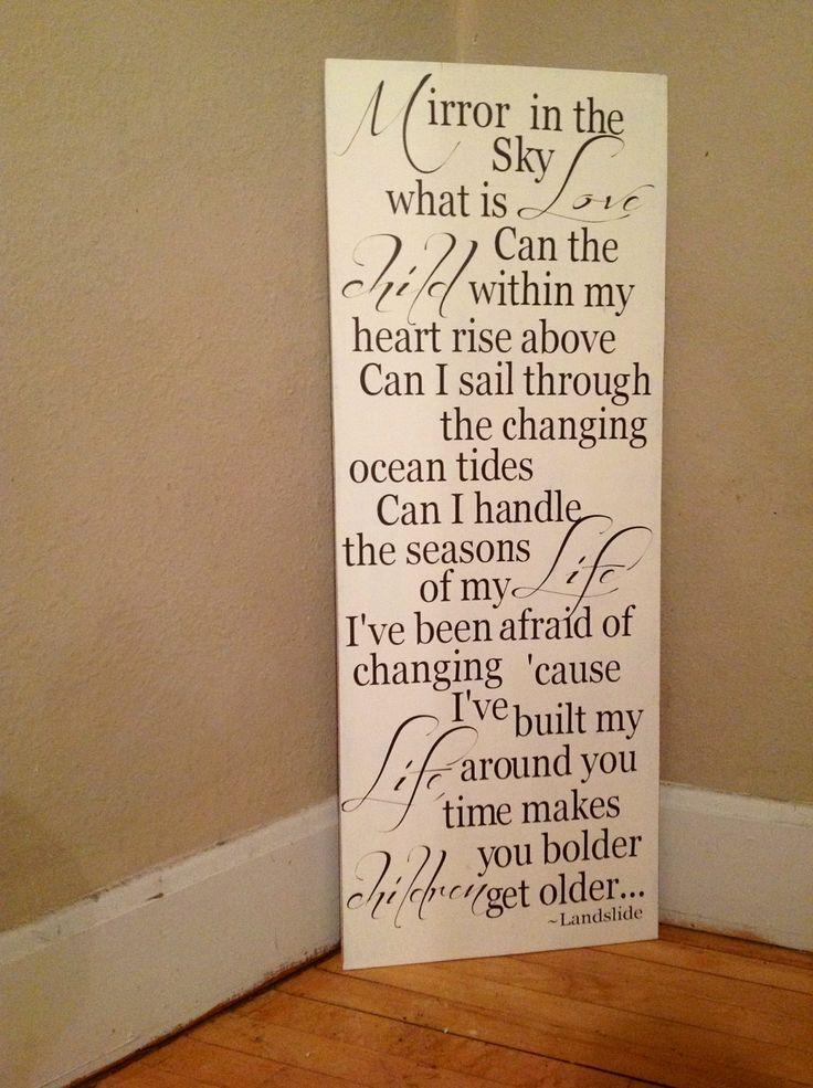 Landslide lyrics Fleetwood Mac wood sign rustic by TheBarnWoodSign, $72.00