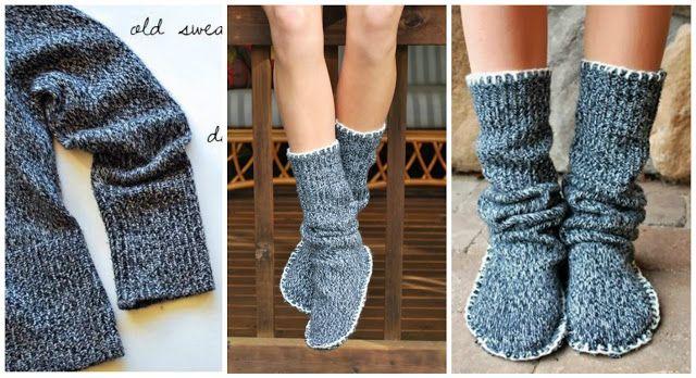 Pantuflas largas para el frío reciclando un suéter ~ cositasconmesh