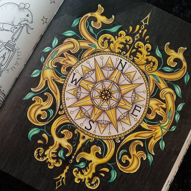 16/84 And it's done! Black and gold compass ready to new year! In the next year i will change the book i am painting! Any sugestions? #hannakarlzon #coloringbook #daydrems#dragdommar #adultcoloringbook #compass #gold #pencils #carandache