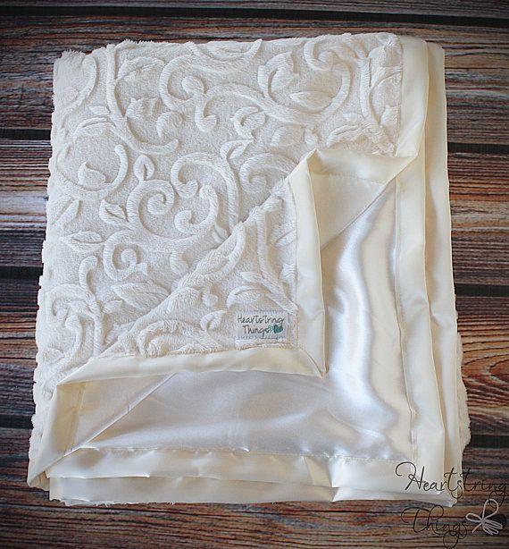 Minky blanket, satin blanket, silk blanket, soft blanket, adult blanket, ivory blanket, cream blanket, gift ideas, baby girl, infant blanket on Etsy, $35.00